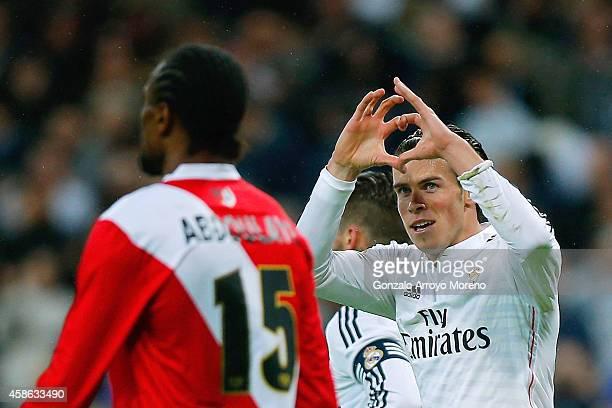Gareth Bale of Real Madrid CF celebrates scoring their opening goal during the La Liga match between Real Madrid CF and Rayo Vallecano de Madrid at...