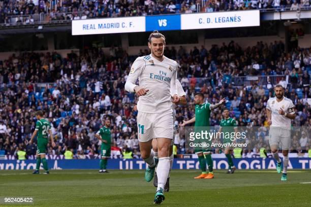 Gareth Bale of Real Madrid CF celebrates scoring their opening goal during the La Liga match between Real Madrid CF and Deportivo Leganes at Estadio...