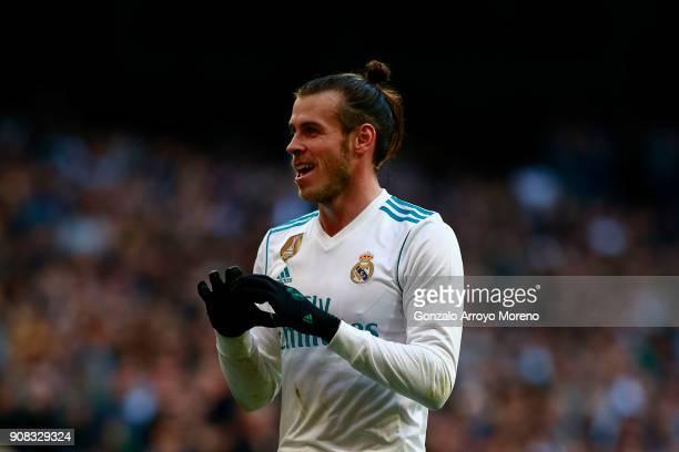 Gareth Bale of Real Madrid CF celebrates scoring their second goal during the La Liga match between Real Madrid CF and Deportivo La Coruna at Estadio...