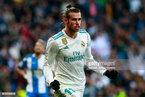 Gareth Bale of Real Madrid CF celebrates scoring their third goal during the La Liga match between Real Madrid CF and Deportivo La Coruna at Estadio...