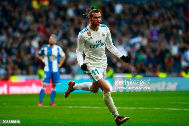 Gareth Bale of Real Madrid CF celebrates scoring their third goal during the La Liga match between Real Madrid CF and Deportivo La Coruna at Estadio...
