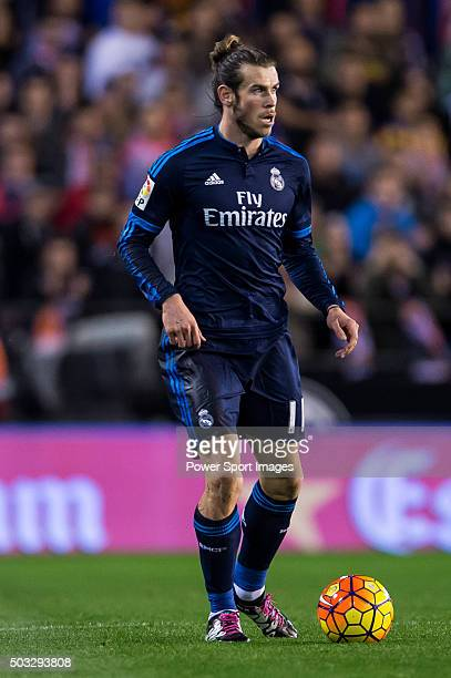 Gareth Bale of Real Madrid CF in action during the Valencia CF vs Real Madrid CF as part of the Liga BBVA 20152016 at Estadi de Mestalla on January 3...
