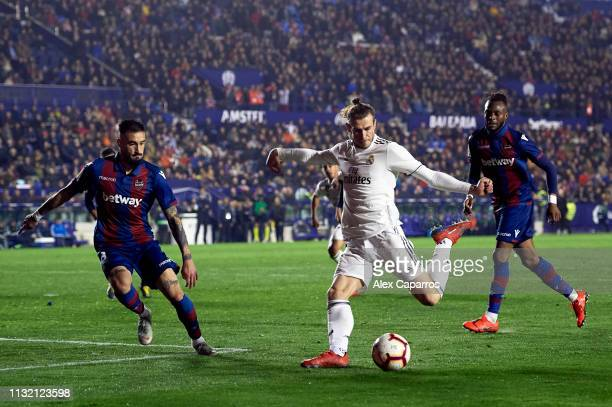 Gareth Bale of Real Madrid CF kicks the ball during the La Liga match between Levante UD and Real Madrid CF at Ciutat de Valencia on February 24 2019...