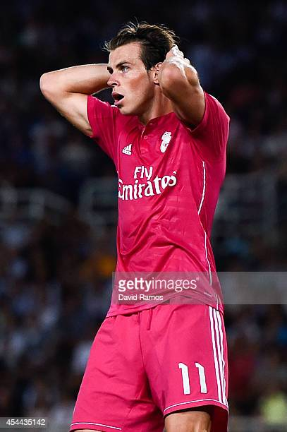 Gareth Bale of Real Madrid CF reacts after missing a chance to score during the La Liga match between Real Sociedad de Futbol and Real Madrid CF at...