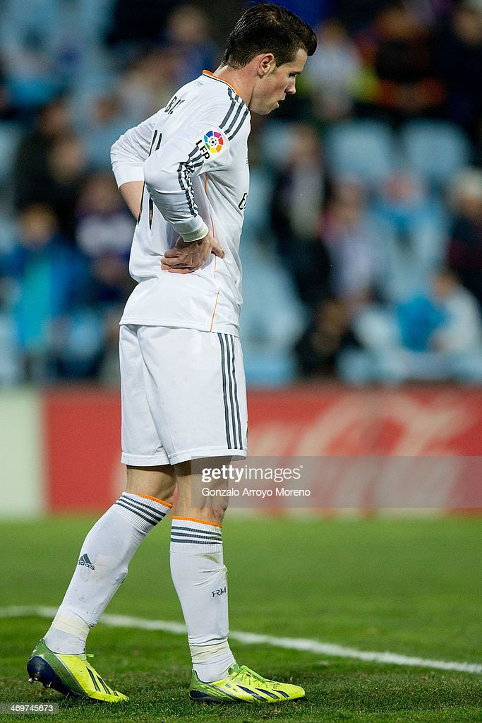 Gareth Bale of Real Madrid CF reacts as he fails to score during the La Liga match between Getafe CF and Real Madrid CF at Coliseum Alfonso Perez on February 16, 2014 in Getafe, Spain.