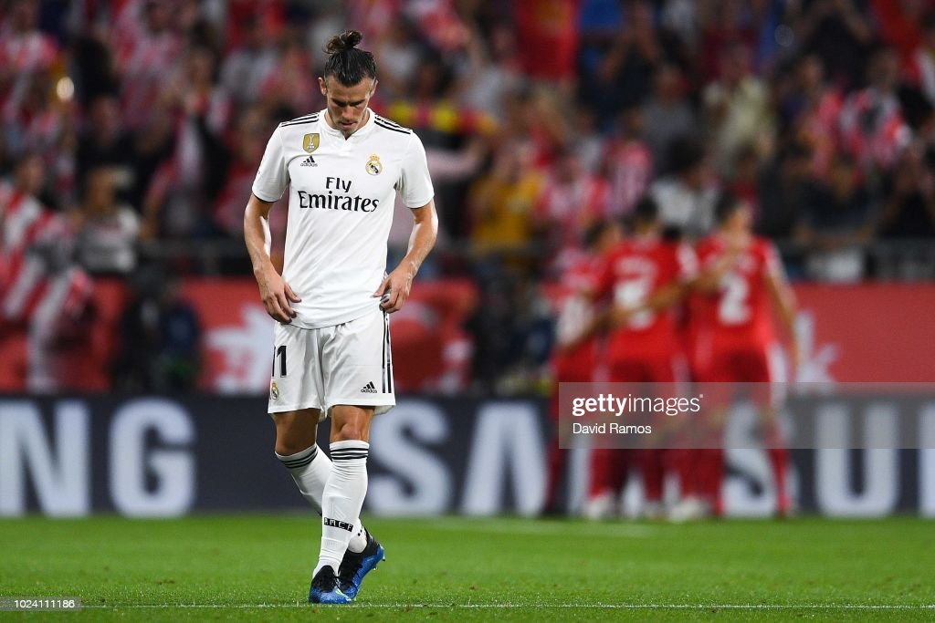 Gareth Bale of Real Madrid CF reacts dejected after Borja Garcia of Girona FC scored the opening goal during the La Liga match between Girona FC and Real Madrid CF at Montilivi Stadium on August 26, 2018 in Girona, Spain.