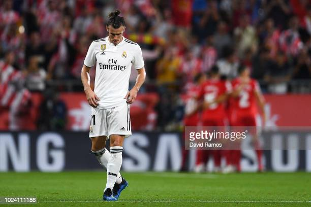 Gareth Bale of Real Madrid CF reacts dejected after Borja Garcia of Girona FC scored the opening goal during the La Liga match between Girona FC and...