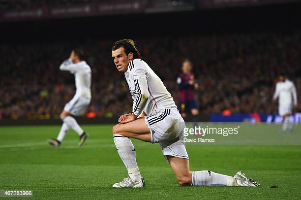 Gareth Bale of Real Madrid CF reacts during the La Liga match between FC Barcelona and Real Madrid CF at Camp Nou on March 22 2015 in Barcelona Spain