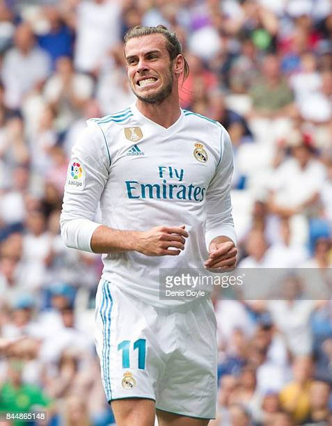 Gareth Bale of Real Madrid CF reacts during the La Liga match between Real Madrid and Levante at Estadio Santiago Bernabeu on September 9 2017 in...