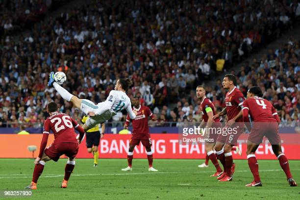Gareth Bale of Real Madrid CF scores his team's second goal during the UEFA Champions League final between Real Madrid and Liverpool on May 26, 2018...