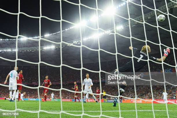 Gareth Bale of Real Madrid CF scores his team's second goal during the UEFA Champions League final between Real Madrid and Liverpool on May 26 2018...