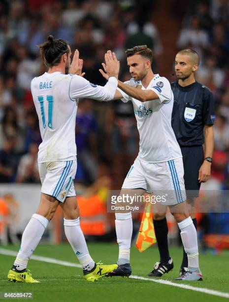 Gareth Bale of Real Madrid comes off for Borja Mayoral of Real Madrid during the UEFA Champions League group H match between Real Madrid and APOEL...