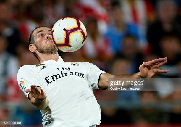 Gareth Bale of Real Madrid controls the ball during the La Liga match between Girona FC and Real Madrid CF at Montilivi Stadium on August 26 2018 in...