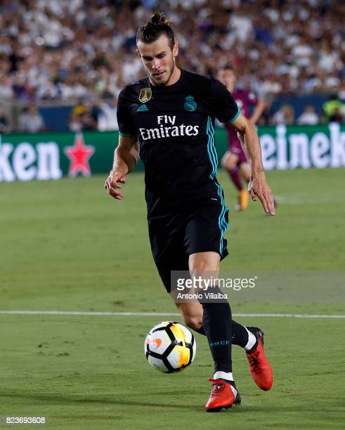Gareth Bale of Real Madrid during a match against Manchester City during the International Champions Cup soccer match at Los Angeles Memorial...