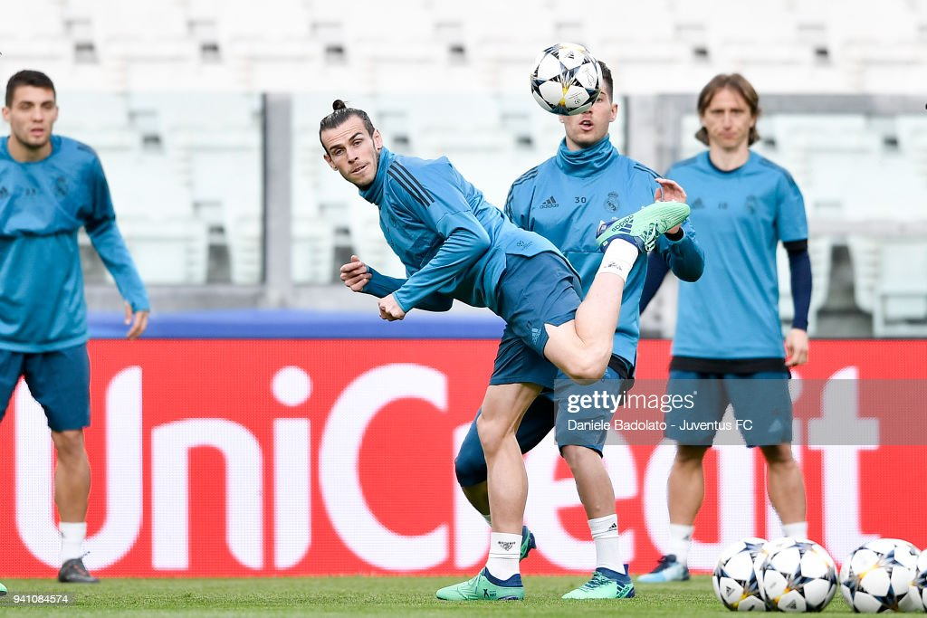 Gareth Bale of Real Madrid during a training session on the eve of the UEFA Champions League match agains Juventus at Allianz Stadium on April 2, 2018 in Turin, Italy.