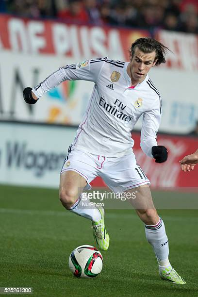 Gareth Bale of Real Madrid during the Copa del Rey Round of 16 First Leg match between Club Atletico de Madrid and Real Madrid at Vicente Calderon...
