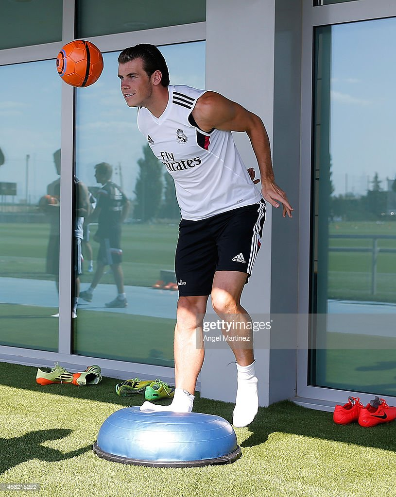 Gareth Bale of Real Madrid exercises during a training session at Valdebebas training ground on August 5, 2014 in Madrid, Spain.