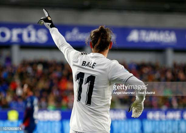 Gareth Bale of Real Madrid gestures during the La Liga match between SD Huesca and Real Madrid CF at Estadio El Alcoraz on December 9 2018 in Huesca...