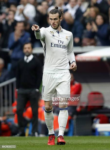 Gareth Bale of Real Madrid gestures during the La Liga match between Real Madrid and RCD Espanyol at Estadio Santiago Bernabeu on February 18 2017 in...
