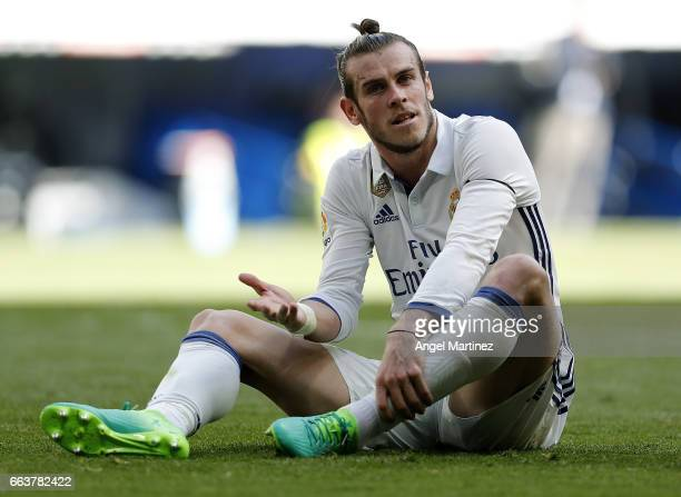 Gareth Bale of Real Madrid gestures during the La Liga match between Real Madrid and Deportivo Alaves at Estadio Santiago Bernabeu on April 2 2017 in...