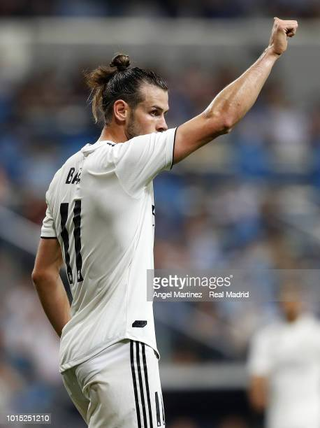 Gareth Bale of Real Madrid gestures during the Trofeo Santiago Bernabeu match between Real Madrid and AC Milan at Estadio Santiago Bernabeu on August...