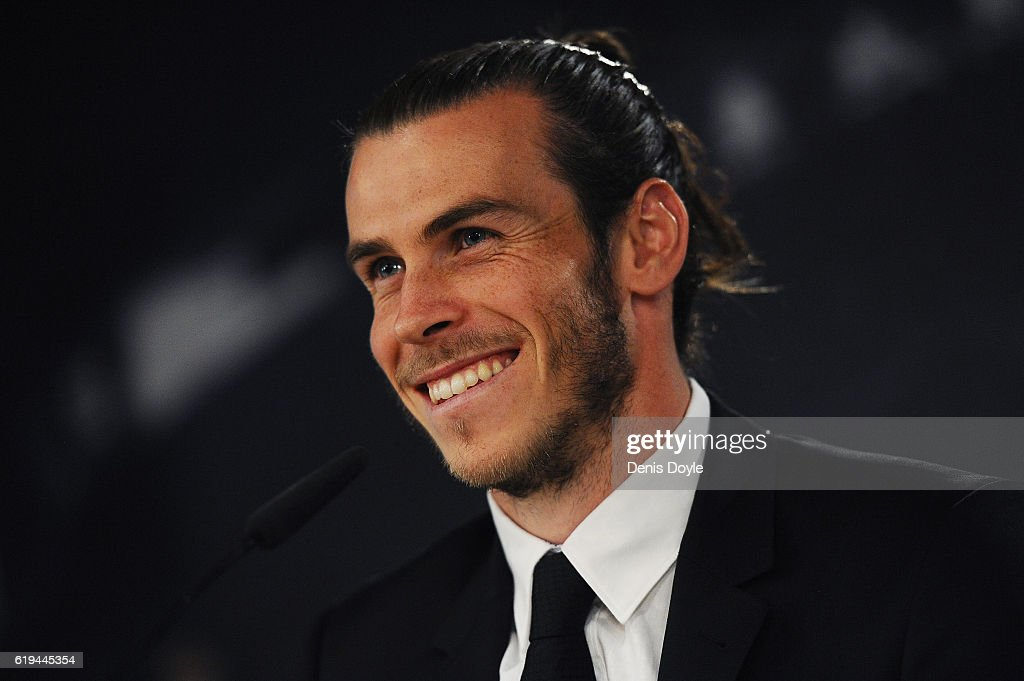 Gareth Bale of Real Madrid holds a press conference at the Santiago Bernabeu stadium after extending his contract with Real until 2022 on October 31, 2016 in Madrid, Spain. Bale has scored 62 goals in 135 appearances for the club and won five trophies in the past three seasons, including the Champions League twice.
