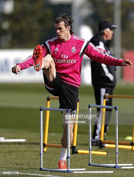 Gareth Bale of Real Madrid in action during a training session at Valdebebas training ground on February 27, 2015 in Madrid, Spain.