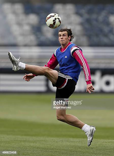 Gareth Bale of Real Madrid in action during a training session at Valdebebas training ground on March 19 2015 in Madrid Spain