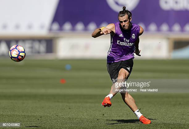 Gareth Bale of Real Madrid in action during a training session at Valdebebas training ground on September 9 2016 in Madrid Spain