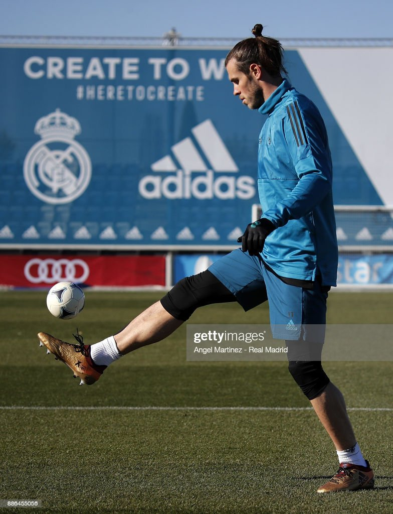 Gareth Bale of Real Madrid in action during a training session at Valdebebas training ground on December 5, 2017 in Madrid, Spain.