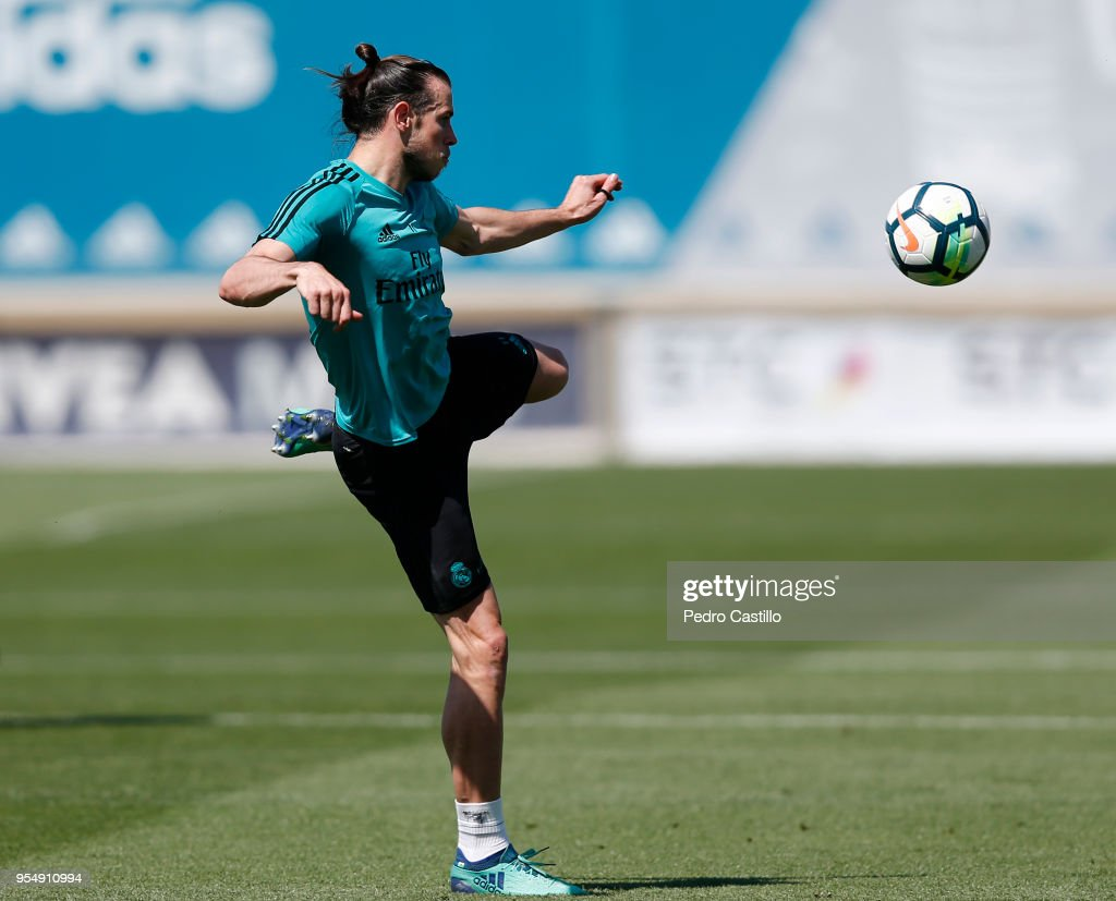 Gareth Bale of Real Madrid in action during a training session at Valdebebas training ground on May 5, 2018 in Madrid, .