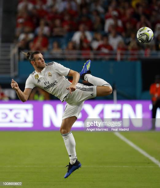 Gareth Bale of Real Madrid in action during the International Champions Cup 2018 match between Manchester United and Real Madrid at Hard Rock Stadium...
