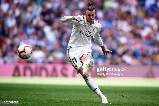 Gareth Bale of Real Madrid in action during the La Liga match between Real Madrid CF and Levante UD at Estadio Santiago Bernabeu on October 20 2018...