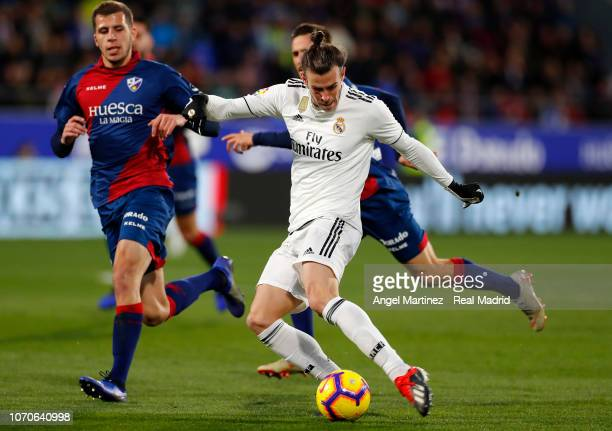 Gareth Bale of Real Madrid in action during the La Liga match between SD Huesca and Real Madrid CF at Estadio El Alcoraz on December 9 2018 in Huesca...