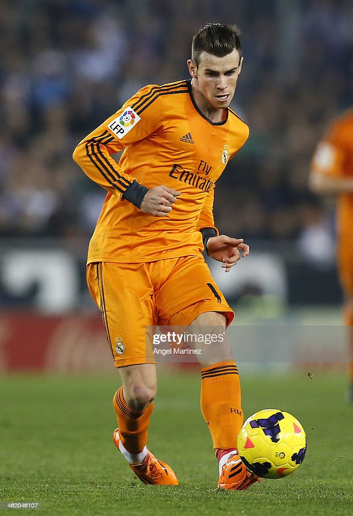 Gareth Bale of Real Madrid in action during the La Liga match between RCD Espanyol and Real Madrid at Cornella-El Prat Stadium on January 12, 2014 in Barcelona, Spain.