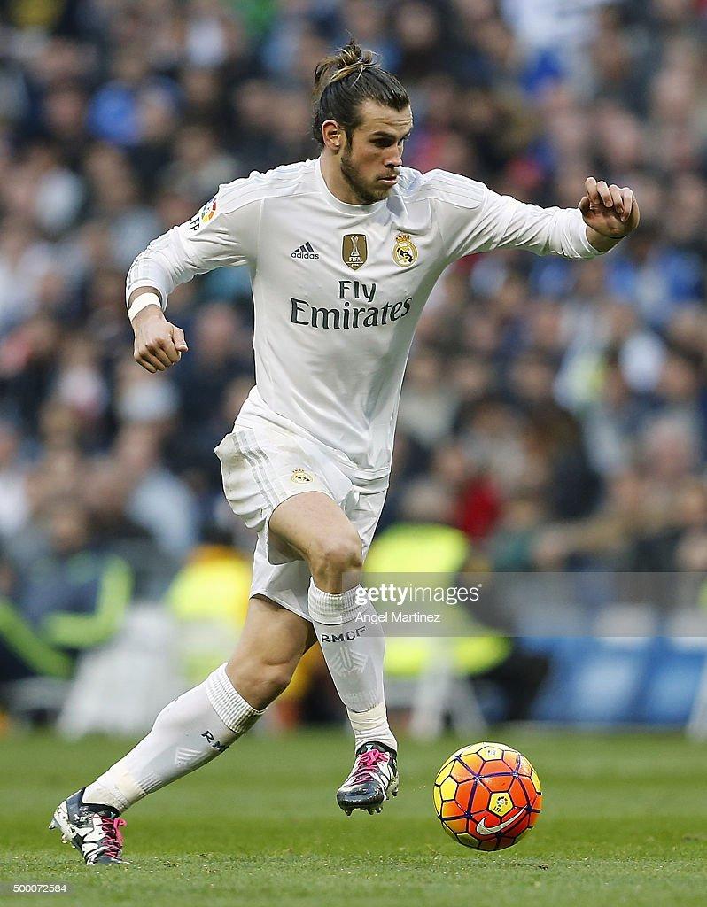 Gareth Bale of Real Madrid in action during the La Liga match between Real Madrid CF and Getafe CF at Estadio Santiago Bernabeu on December 5, 2015 in Madrid, Spain.