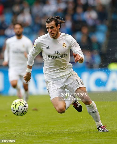 Gareth Bale of Real Madrid in action during the La Liga match between RC Deportivo La Coruna and Real Madrid CF at Riazor Stadium on May 14 2016 in...