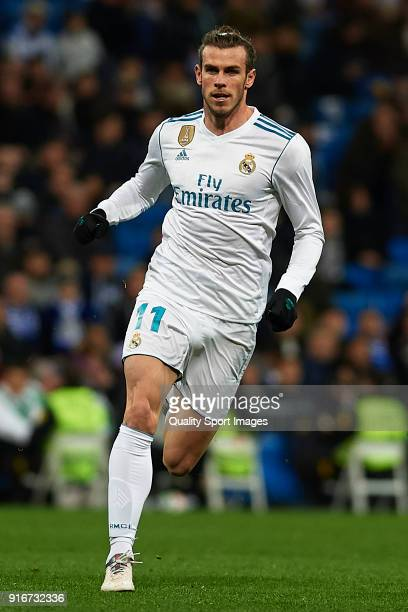Gareth Bale of Real Madrid in action during the La Liga match between Real Madrid and Real Sociedad at Estadio Santiago Bernabeu on February 10 2018...