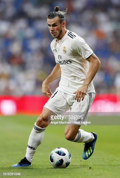 Gareth Bale of Real Madrid in action during the Trofeo Santiago Bernabeu match between Real Madrid and AC Milan at Estadio Santiago Bernabeu on...