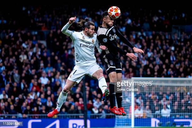 Gareth Bale of Real Madrid in action during the UEFA Champions League Round of 16 Second Leg match between Real Madrid and Ajax at Bernabeu on March...