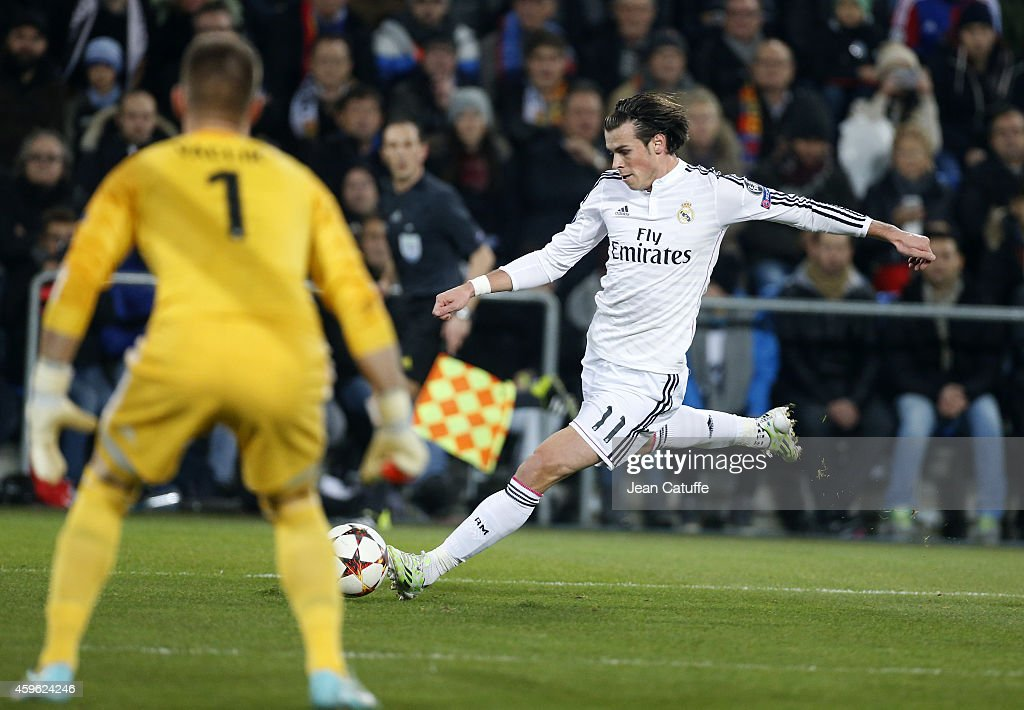 Gareth Bale of Real Madrid in action during the UEFA Champions League Group B match between FC Basel 1893 and Real Madrid CF at St. Jakob-Park stadium on November 26, 2014 in Basel, Basel-Stadt, Switzerland.