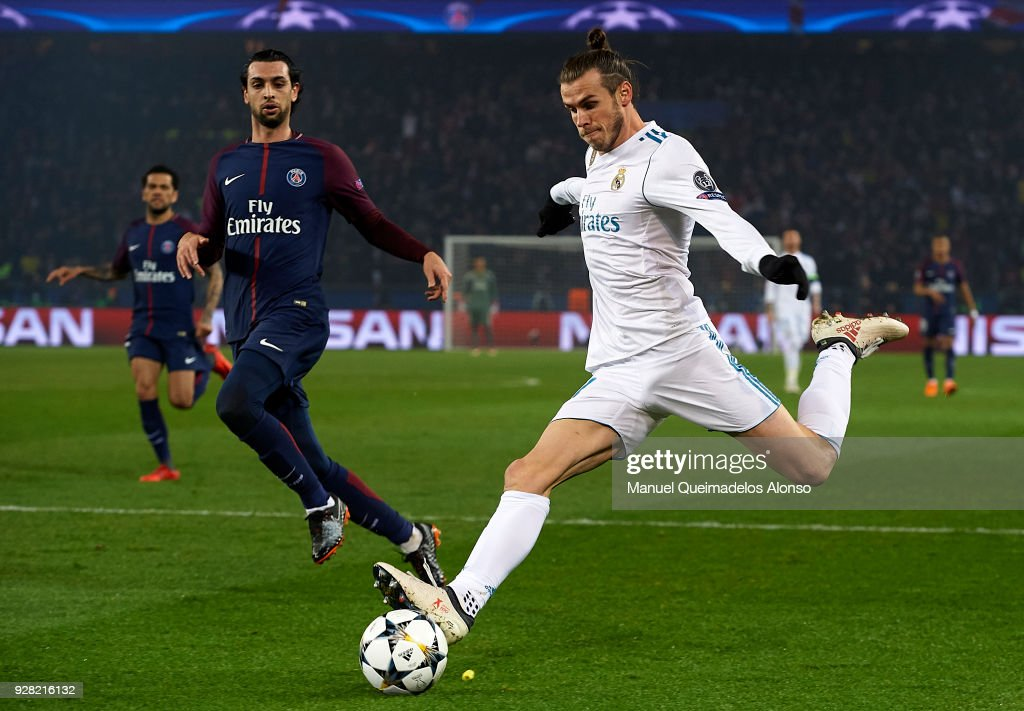 Gareth Bale of Real Madrid in action during the UEFA Champions League Round of 16 Second Leg match between Paris Saint-Germain and Real Madrid at Parc des Princes on March 6, 2018 in Paris, France.