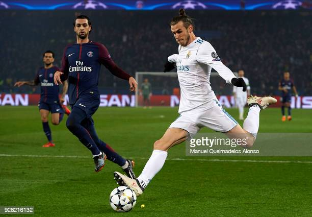 Gareth Bale of Real Madrid in action during the UEFA Champions League Round of 16 Second Leg match between Paris SaintGermain and Real Madrid at Parc...