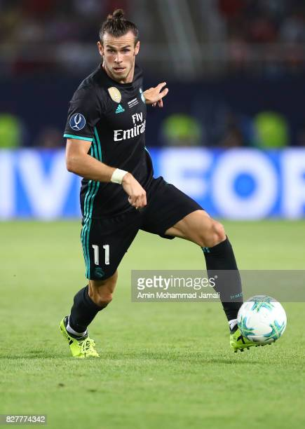 Gareth Bale of Real Madrid in action during the UEFA Super Cup match between Real Madrid and Manchester United on August 8 2017 in Skopje Macedonia