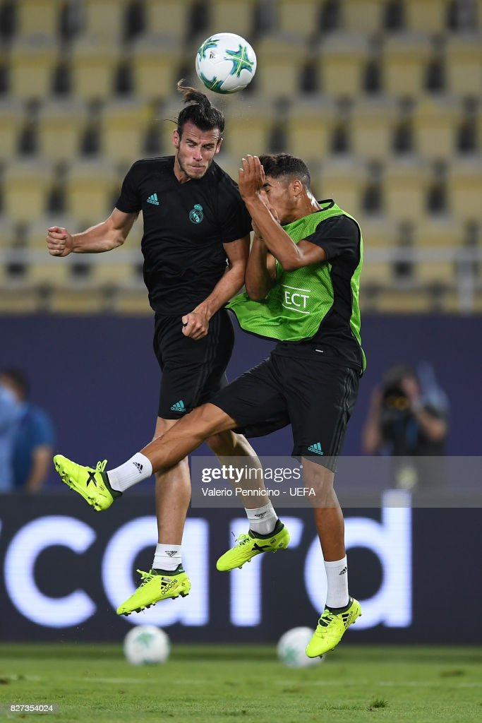 Gareth Bale (L) of Real Madrid is challenged during the training session ahead of the UEFA Super Cup between Real Madrid and Manchester United at Nacional Arena Philip II Macedoninan on August 7, 2017 in Skopje, Macedonia.