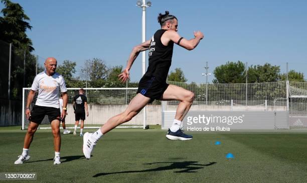 Gareth Bale of Real Madrid is training at Valdebebas training ground on July 26, 2021 in Madrid, Spain.