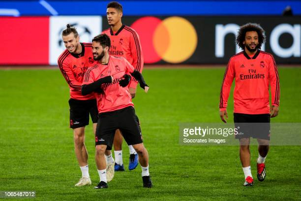 Gareth Bale of Real Madrid Isco of Real Madrid Raphael Varane of Real Madrid Marcelo of Real Madrid during the Real Madrid Training and Press...