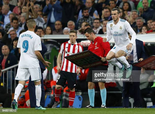 Gareth Bale of Real Madrid jumps during the La Liga match between Real Madrid and Athletic Club at Estadio Santiago Bernabeu on April 18 2018 in...