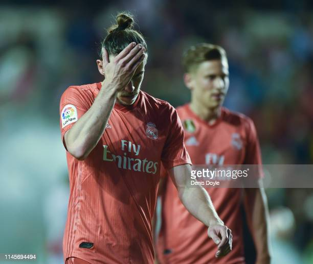 Gareth Bale of Real Madrid looks dejected during the La Liga match between Rayo Vallecano de Madrid and Real Madrid CF at Campo de Futbol de Vallecas...