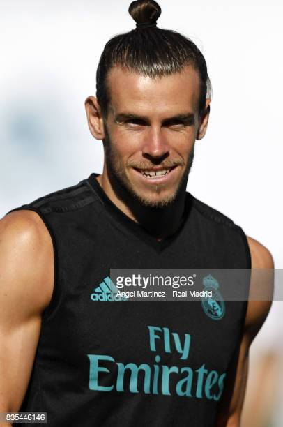 Gareth Bale of Real Madrid looks on during a training session at Valdebebas training ground on August 19 2017 in Madrid Spain